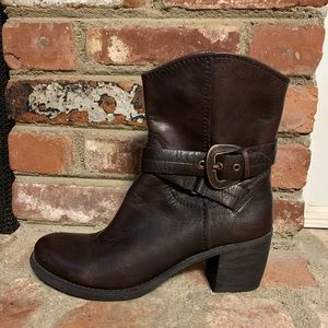 Nine West R-SPAN Brown Buckle Moto Boots Leather